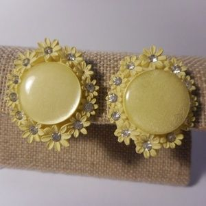 Vintage Yellow Plastic Flower Clip Earrings